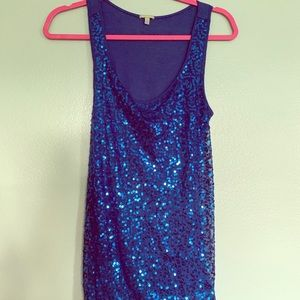 Blue sparkly tank top